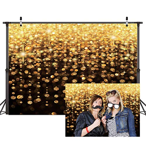 Dudaacvt 7x5ft Gold Bokeh Spots Backdrop for Selfie Birthday Party Pictures Photo Booth Shoot Graduation Prom Dance Decor Wedding Vintage Astract Glitter Dot Studio Props Photography Background D172 ()