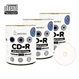Smart Buy CD-R 300 Pack 700mb 52x Printable White Inkjet Blank Recordable Discs, 300 Disc, 300pk