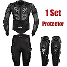 HEROBIKER MC1013 Black Motorcycle Body Armor Motocross Armour Motorcycle Jackets+ Gears Short Pants+protective Motocycle Knee Pad