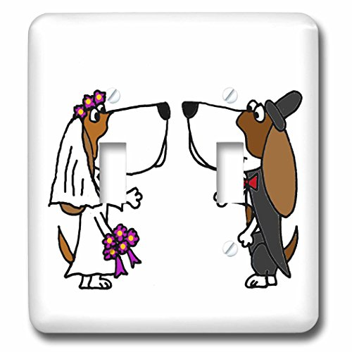 3dRose lsp_201767_2 Funny Basset Hound Dogs Bride and Groom Wedding Cartoon Double Toggle Switch