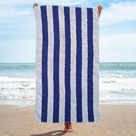 a rayas blancas y azules resistentes al cloro 100/% algod/ón 2 Blue /& White Stripes de Sunshine Comforts Toallas para de playa y piscina disponible en paquetes de 1 3 y 4 unidades Pack de 2