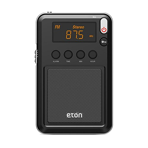 Eton NGWMINIB Mini Compact AM/FM/Shortwave Radio, FM Telescopic Antenna, Digital Tuner with Rich Orange LCD Display, Worldwide Listening, Carrying Pouch, 1-Pack, Black