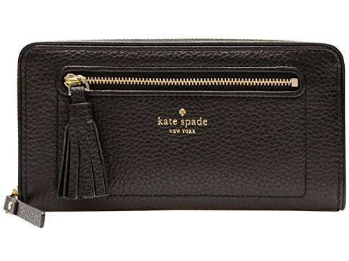 Kate Spade New York Chester Street Neda Pebbled Leather Zip Around Wallet (Black)