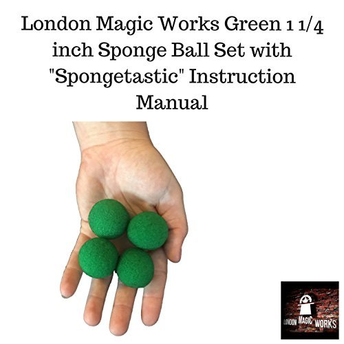 London Magic Works 1.25 inch Green Sponge Balls With Spongetastic Manual Ð Perfect Size For Any Hands Large or Small Ð Includes Spongetastic Manual