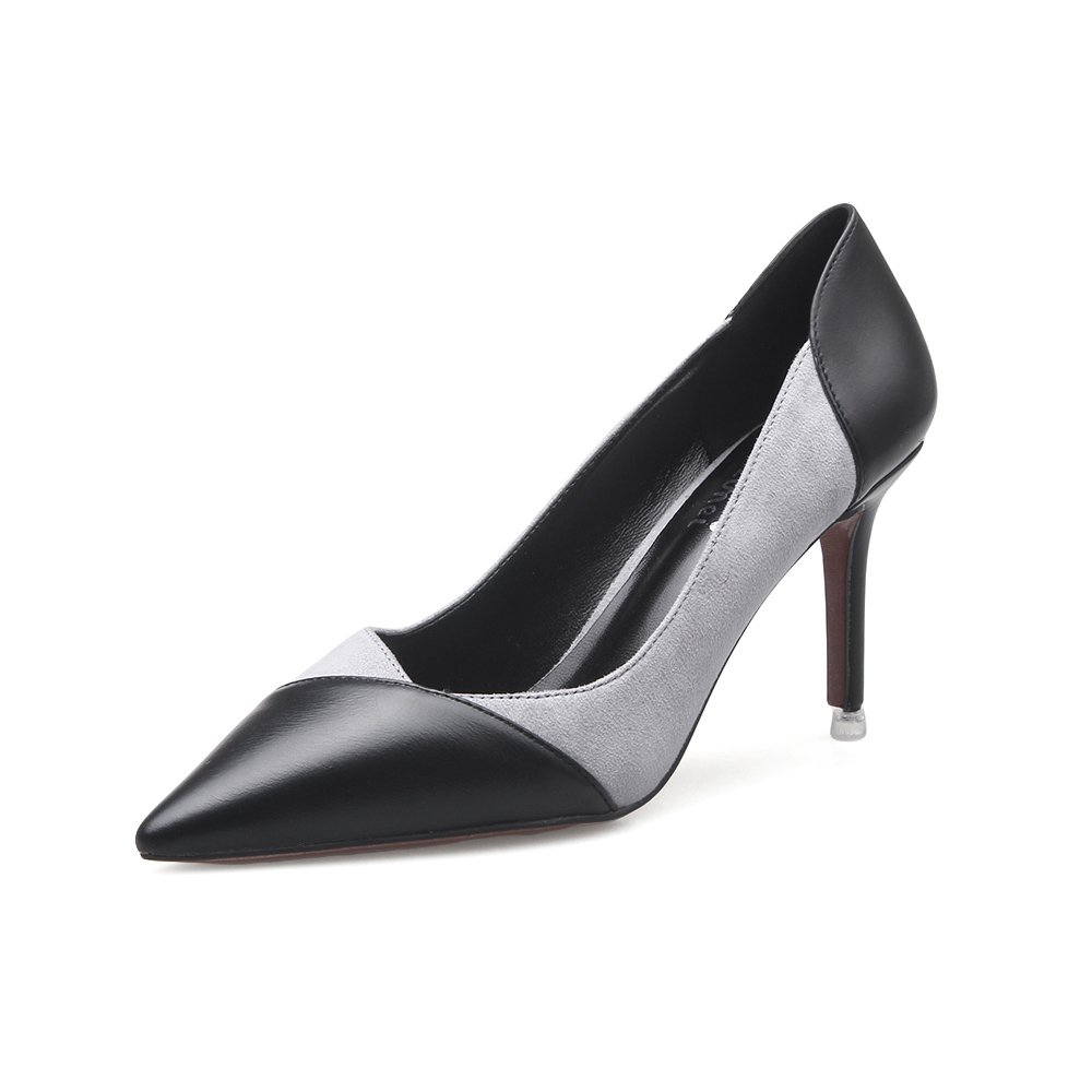 Frauen Schuhe Mikrofaser Europa Amerika Spitzen Stiletto High Heels Flacher Mund Sexy Niedrig-Top-Schuhe für Party & Abend (Farbe : B, Größe : 39)
