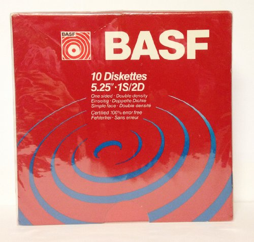 "BASF 10 Diskettes 5.25"" 1S/2D One Sided Double Density"