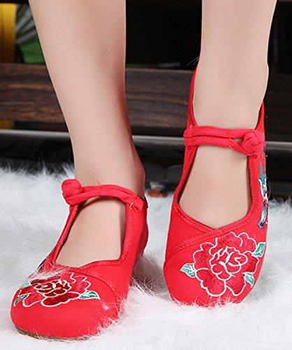 Rojo Jane Baile De Bordado Del Bailarina De Peony De Para Icegrey Zapatos Zapatos La Mujeres Las Mary XUaqwSBxp