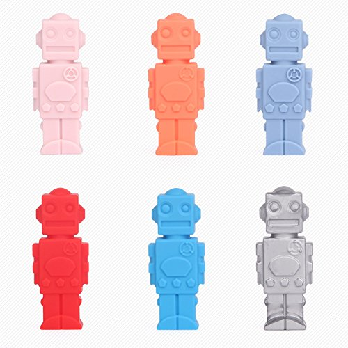 Robot Pencil Toppers (Silicone Chewable Pencil Toppers 6 Pack, Safe Robot Shaped,Perfect for Baby Teething, Children Study with Pencil,Therapy Toys,Chewy Tubes, Fidgets, Oral Motor Chew)