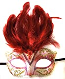 Saigon Red Feather Venetian Mardi Gras Mask Party Halloween Prom Masquerade