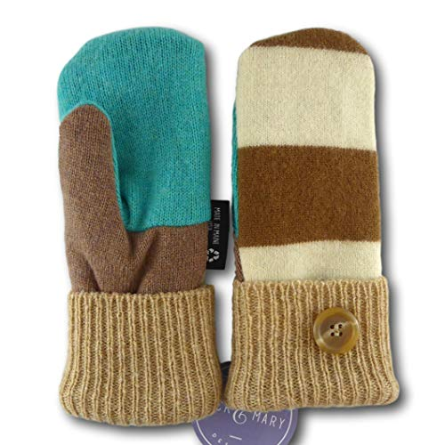 Jack & Mary Designs Handmade Kids Fleece-Lined Wool Mittens, Made from Recycled Sweaters in the USA (tan/aqua/cream, Large)