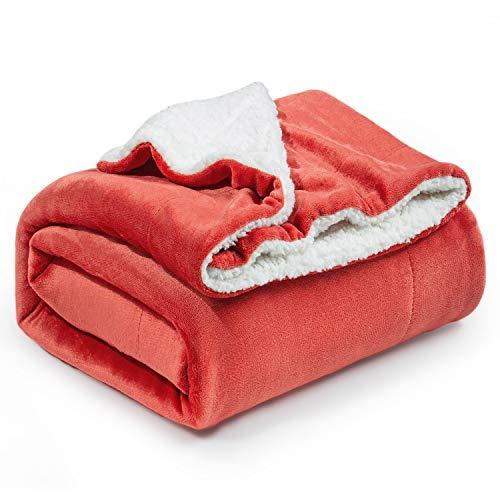 Bedsure Sherpa Fleece Blanket Throw Size Rust Red Plush Throw Blanket Fuzzy Soft Blanket Microfiber