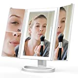 Lighted Makeup Mirror, Ace Teah Trifold Touch Dimmable LED Light Makeup Vanity Mirror with 3X 2X 1X Magnification Mirror 180° Rotation, Dual Power Supply, Countertop Cosmetic Mirror