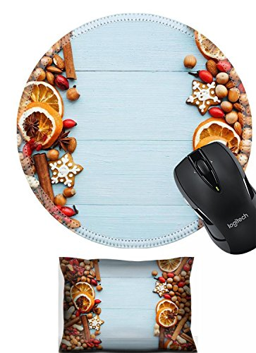 - Liili Mouse Mouse Wrist Rest and Round Mousepad Set, 2pc Wrist Support IMAGE ID 33412529 Christmas background nuts dried oranges spices and gingerbread cookies Viewed from above