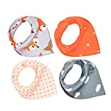 RAYYEE Bandana Drool Bibs with Snaps for Drooling and Teething,4 pack Baby Bib for Boys and Girls (Orange & Gray)