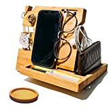 Wooden Docking Station for Men and Women- Nightstand Organizer With Coaster - Charges Smartphone and Holds Keys, Watch, Wallet, Glasses, Ring, Pen, Coins, Mugs - Wax Finish for Added Quality by Peraco