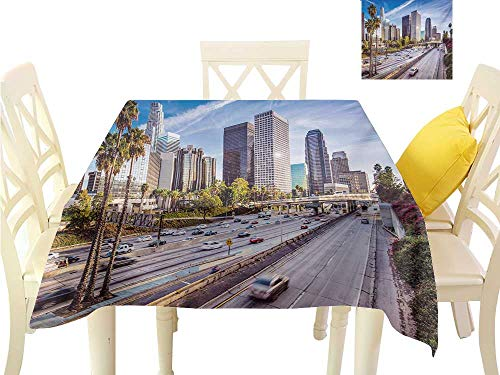 familytaste Square Table Cover Travel,Downtown Cityscape of Los Angeles California USA Avenue Buildings Palms Print,Blue Grey Green BBQ Tablecloth W 36