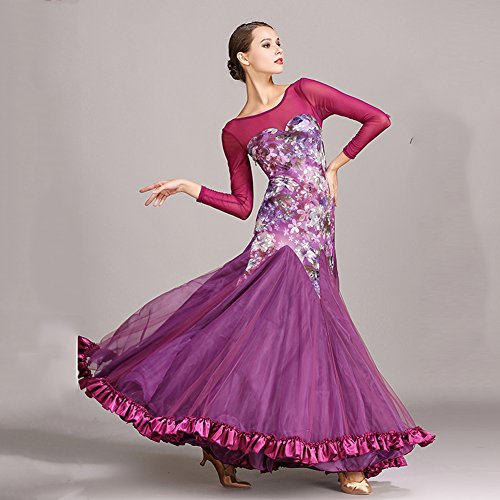 Velluto Lunga Performance XL Purple Da Da Dress Femminile Ballo Manica Imitazione Net Ballo Performance Cucitura Abito Stampa Filato Sala Pattern Seta JIU Q qPATHBH