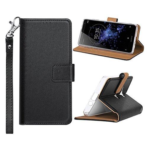 肌寒いやけど実験Xperia XZ2 Compact ケース 手帳型 TopACE Sony Xperia XZ2 Compact ケース 軽量 財布型 カードホルダー&ストラップ付き スタンド機能 エクスペリア XZ2 コンパクト docomo SO-05K 対応 (ブラック)