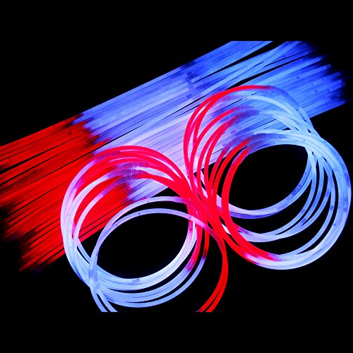Fun Central J4, 50 Pcs 22 Inch Red-White-Blue Glow Stick Necklaces, Patriotic Necklace, Glow Necklace Bulk, Cool Glow Sticks, Glow Party Pack for 4th of July, Patriotic Party, Memorial Day ()