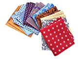 MENDENG Mens 10 Pack Assorted Cotton Polka Dots Pocket Square Handkerchief Hanky