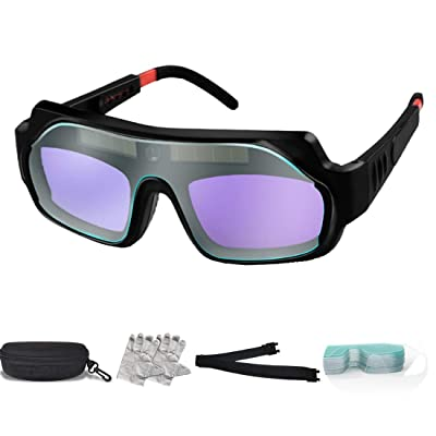 Welder Glasses Solar Automatic Dimming Professional Eye Protection PC Glasses Welder Welding Anti-Glare Safety Glasses 1Pack Black