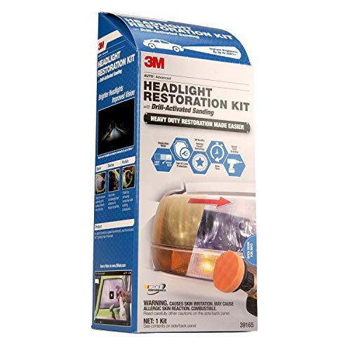 (3M 39165 Headlight Restoration Kit (Heavy Duty – Drill Activated) )