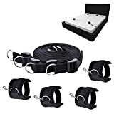 Bed Restraints Bondage, Cuff Bondage Kit Set Handcuffs Strap Sex Toys with Adjustable Soft Hand & Leg Cuffs Fetish Kit Hand Ankle Couple Sex Game (Black)