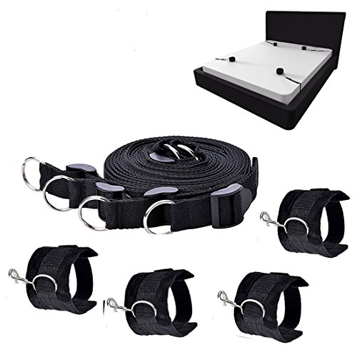 nylon Restraint sports tool adjustable soft wrist and ankle cuffs (Black)