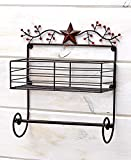 Bronze Metal Primitive Stars And Berries Country Kitchen Collection (Paper Towel Wall Rack)