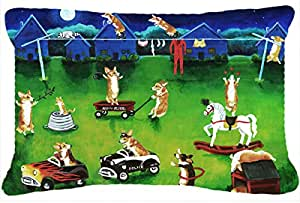"Caroline's Treasures Corgi Backyard Circus Fabric Decorative Pillow, 12"" x 16"", Multicolor"