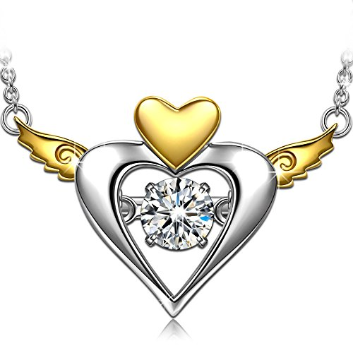 Necklace for Her Dancing Heart Guardian Angel s925 Sterling Silver AAA CZ Heart Wings Pendant Necklace Swarovski Gemstone Jewelry Christmas Girts for Teen Girls Birthday Valentines Day Gifts for Her