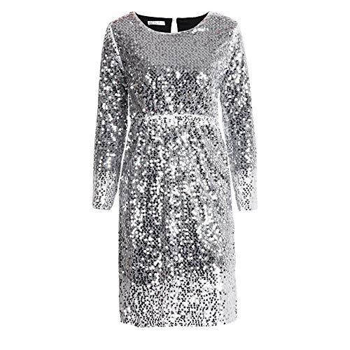 Silver Medium Cxlyq Dresses Women Sequin Party Dress Autumn Fashion Long Sleeve Casual Dresses Ladies Elegant Holiday Bling Dress Black