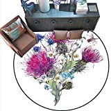 Dragonfly Print Area Rug Summer Natural Meadow Herbs Bouquet Wild Thistles Chamomiles Watercolor Boho Art Home Decor Foor Carpe (6' Diameter) Multicolor