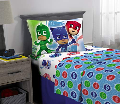 PJ Masks Kids Bedding Super Soft Microfiber Sheet Set, 3 Piece Twin Size, Multi-Color ()