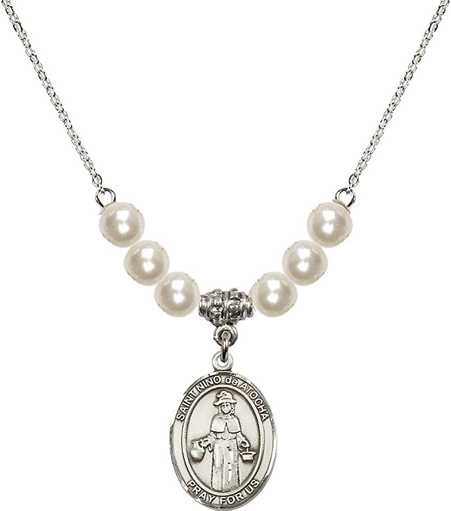 18-Inch Rhodium Plated Necklace with 6mm Faux-Pearl Beads and Sterling Silver Saint Nino de Atocha Charm.