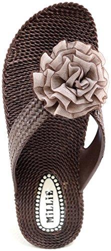 Absolute Footwear - Sandalias de vestir de Caucho para mujer marrón