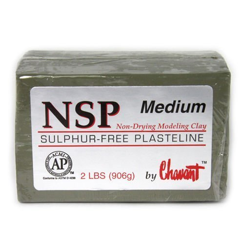 Chavant NSP Medium Oil Based Sulfur Free Sculpting Clay - Green (2 lbs.)