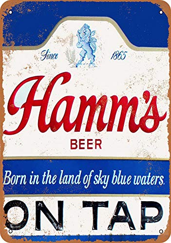 F-More Banner Signs 8 x 12 Metal Sign - Hamm's Beer On Tap - Vintage Look Reproduction Home Decor Styles]()