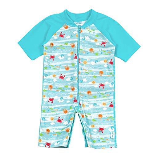 i play. Baby Boys One-Piece Swim Sunsuit, Light Aqua Sea Friends, 6mo