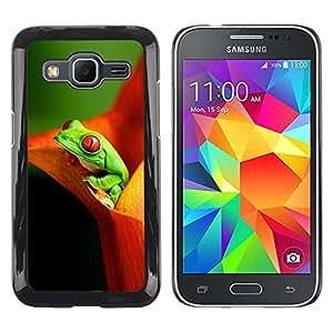 LECELL--Funda protectora / Cubierta / Piel For Samsung Galaxy Core Prime SM-G360 -- Flower Frog Green Orange --