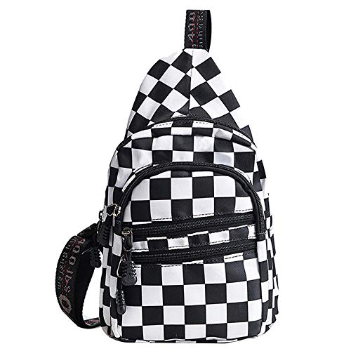 - LABANCA Canvas Checkerboard Multi Pockets Chest Sling Pack Crossbody Bag for Men Women