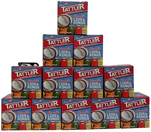 Tattler Reusable Wide Canning Lids and Rubber Rings 12 of 12 Pack by Tattler