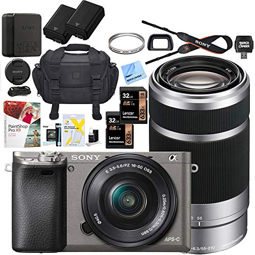 Sony Alpha a6000 Mirrorless Digital Camera with 16-50mm & 55-210mm Lens (Gray) ILCE-6000L/H with Extra Battery Case + 2X Lexar Professional 633x 32GB SDHC/SDXC UHS-I Card Bundle