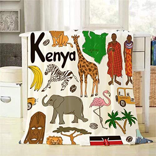 Mugod Animal Throw Blanket Colorful Sketch African Kenya Man and Animal Set Elephant Zebra Giraffe Lion Decorative Soft Warm Cozy Flannel Plush Throws Blankets for Bedding Sofa Couch 60 X 80 Inch (Sofa Kenya)
