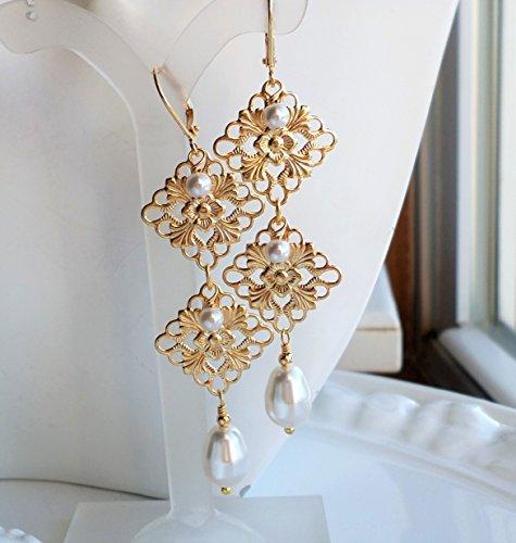 White Gold Filigree Earrings (White Pearl Gold Filigree Long Wedding Chandelier Earrings)