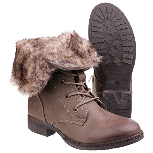 Boots 8 Womens Leigh UK3 Brown Divaz Fashion Ankle Lace Shoes Brown Up 6FO0qwC
