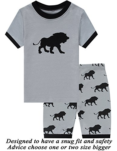 Boys Short Pj (Little Pajamas Boys Pajamas 100% Cotton Lion Short Kids Snug Fit Pjs Summer Toddler Sleepwear 6T)