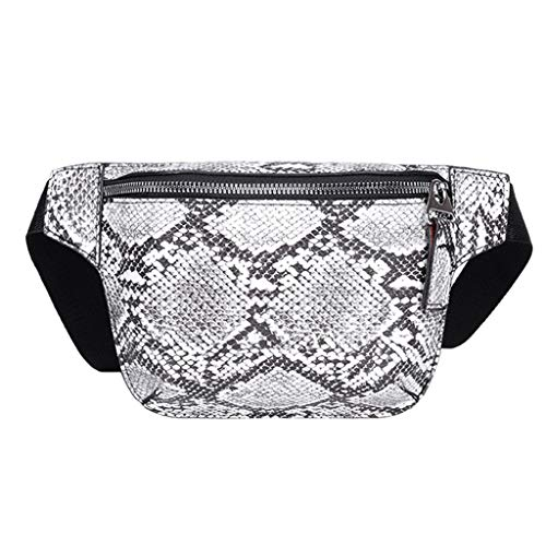 Mini Fanny Pack,Crytech Women Fashion Small Serpentine Leather Waist Bum Bag Casual Wild Crossbody Shoulder Chest Sling Backpack Leisure Phone Pouch Messenger Bag for Ladies (White)
