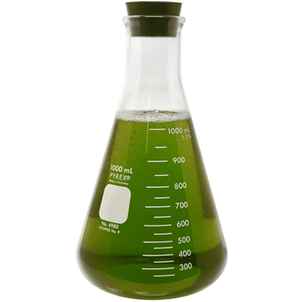 Corning Pyrex #4980-1L, 1000ml Narrow Mouth Erlenmeyer Flask with Rubber Stopper (Single)