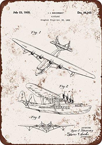 1935 Igor S -飛行機特許Vintage Look Reproduction Metal Signs 6 x 9インチ B01MA39ILM